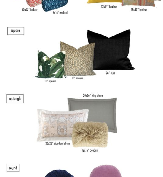 throw pillows & sizes