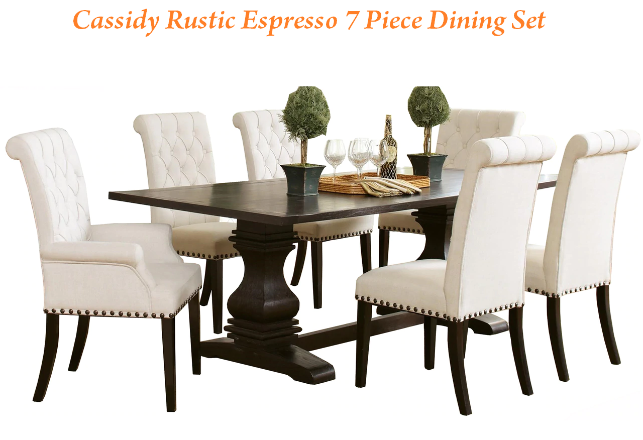 cassidy rustic expresso 7 piece dining set