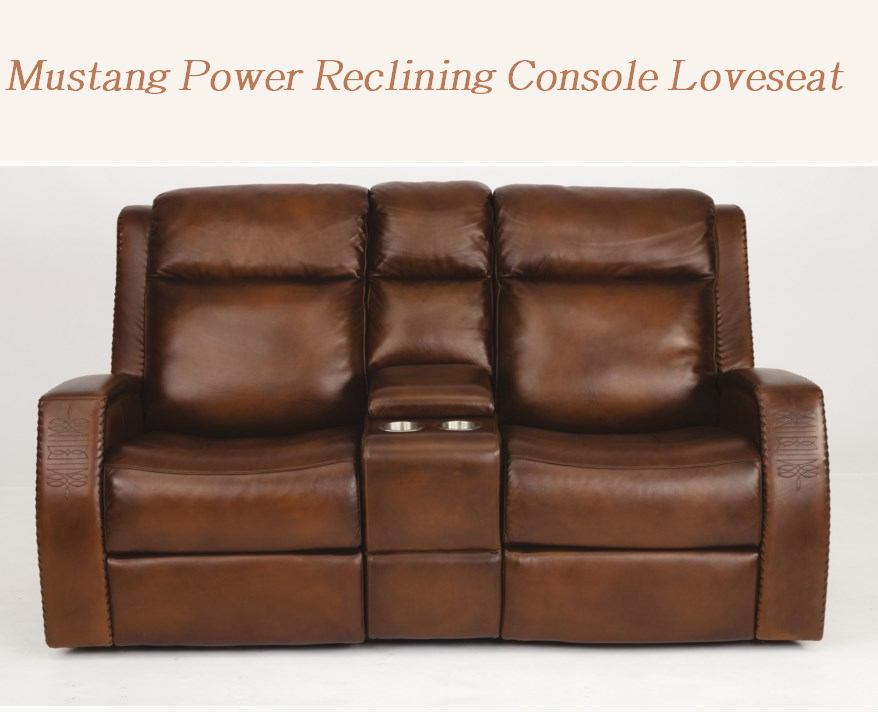 mustang power reclining console loveseat